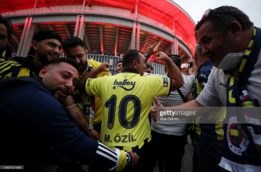 <div>FRANKFURT AM MAIN, GERMANY - SEPTEMBER 16: Fans of Fenerbahce enjoy the pre-match atmosphere outside the stadium prior to the UEFA Europa League group D match between Eintracht Frankfurt and Fenerbahce at Deutsche Bank Park on September 16, 2021 in Frankfurt am Main, Germany. (Photo by Alex Grimm/Getty Images)</div><div><br></div>