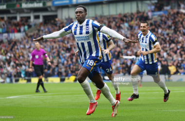 BRIGHTON, ENGLAND - SEPTEMBER 19: Danny Welbeck of Brighton & Hove Albion celebrates after scoring their side's second goal during the Premier League match between Brighton & Hove Albion and Leicester City at American Express Community Stadium on September 19, 2021 in Brighton, England. (Photo by Eddie Keogh/Getty Images)