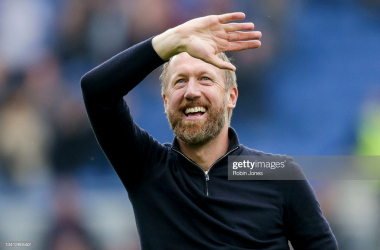 BRIGHTON, ENGLAND - SEPTEMBER 19: Head Coach Graham Potter of Brighton & Hove Albion after his side's 2-1 win during the Premier League match between Brighton & Hove Albion and Leicester City at American Express Community Stadium on September 19, 2021 in Brighton, England. (Photo by Robin Jones/Getty Images)