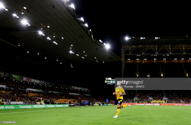 WOLVERHAMPTON, ENGLAND - SEPTEMBER 22: Ruben Neves of Wolverhampton Wanderers makes his way to the corner during the Carabao Cup Third Round match between Wolverhampton Wanderers and Tottenham Hotspur at Molineux on September 22, 2021 in Wolverhampton, England. (Photo by Jack Thomas - WWFC/Wolves via Getty Images)