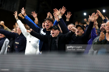 LONDON, ENGLAND - SEPTEMBER 27: Brighton and Hove Albion fans cheer on their team ahead of the Premier League match between Crystal Palace and Brighton & Hove Albion at Selhurst Park on September 27, 2021 in London, England. (Photo by Chloe Knott - Danehouse/Getty Images)