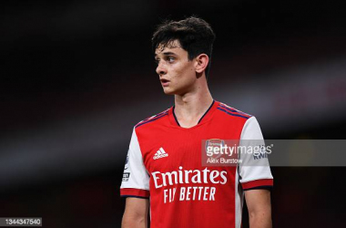 Charlie Patino of Arsenal looks on during the Premier League 2 match between Arsenal U23 and Brighton & Hove Albion U23 at Emirates Stadium on October 01, 2021 in London, England. (Photo by Alex Burstow/Getty Images)