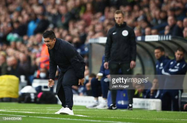 LEEDS, ENGLAND - OCTOBER 02: Xisco, Manager of Watford FC reacts during the Premier League match between Leeds United and Watford at Elland Road on October 02, 2021 in Leeds, England. (Photo by Jan Kruger/Getty Images)