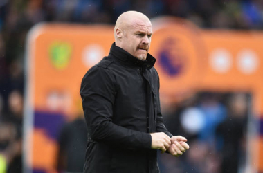 BURNLEY, ENGLAND - OCTOBER 02: Sean Dyche, Manager of Burnley looks on prior to the Premier League match between Burnley and Norwich City at Turf Moor on October 02, 2021 in Burnley, England. (Photo by Nathan Stirk/Getty Images)