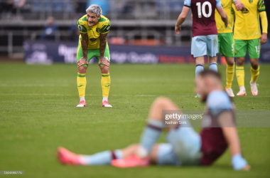 Mathias Normann of Norwich City reacts following the Premier League match between Burnley and Norwich City at Turf Moor on October 02, 2021 in Burnley, England. (Photo by Nathan Stirk/Getty Images)
