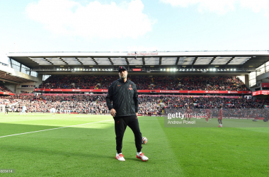 LIVERPOOL, ENGLAND - OCTOBER 03:(SUN OUT THE SUN ON SUNDAY OUT) Jurgen Klopp manager of Liverpool before the Premier League match between Liverpool and Manchester City at Anfield on October 03, 2021 in Liverpool, England. (Photo by Andrew Powell/Liverpool FC via Getty Images)