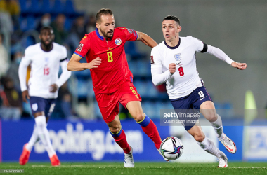 <div>ANDORRA LA VELLA, ANDORRA - OCTOBER 09: Phil Foden of England runs with the ball under pressure from Xavi Vieira of Andorra during the 2022 FIFA World Cup Qualifier match between Andorra and England at Estadi Nacional on October 09, 2021 in Andorra la Vella, Andorra. (Photo by Pedro Salado/Quality Sport Images/Getty Images,)</div><div><br></div>