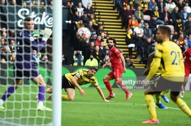 WATFORD, ENGLAND - OCTOBER 16: (SUN OUT,THE SUN ON SUNDAY OUT) Mohamed Salah of Liverpool scores the fourth goal making the score 0-4 during the Premier League match between Watford and Liverpool at Vicarage Road on October 16, 2021 in Watford, England. (Photo by Andrew Powell/Liverpool FC via Getty Images)