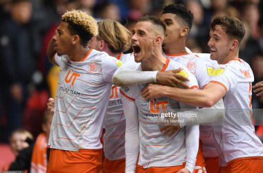 Jerry Yates of Blackpool celebrates scoring their first goal during the Sky Bet Championship match between Nottingham Forest and Blackpool at City Ground on October 16, 2021 in Nottingham, England. (Photo by Tony Marshall/Getty Images)