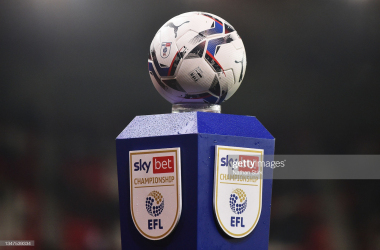STOKE ON TRENT, ENGLAND - OCTOBER 19: A detailed view of the EFL Puma match ball is seen on a plinth prior to the Sky Bet Championship match between Stoke City and AFC Bournemouth at Bet365 Stadium on October 19, 2021 in Stoke on Trent, England. (Photo by Nathan Stirk/Getty Images)