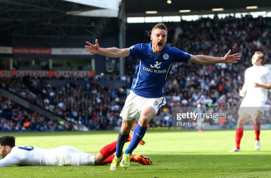WEST BROMWICH, ENGLAND - APRIL 11: Leicester's Jamie Vardy celebrates after scoring to make it 2-3 during the Premier League match between West Bromwich Albion and Leicester City at The Hawthorns on April 11, 2015 in West Bromwich, England. (Photo by Plumb Images/Leicester City FC via Getty Images)