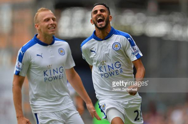 Ritchie De Laet (left) and Riyad Mahrez (right) celebrate.