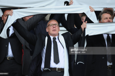 DERBY, ENGLAND - OCTOBER 16: Mel Morris the owner of Derby County holds aloft a scarf during the Sky Bet Championship match between Derby County and Wolverhampton Wanderers at Pride Park Stadium on October 18, 2015 in Derby, England. (photo by Sam Bagnall - AMA/Getty Images)