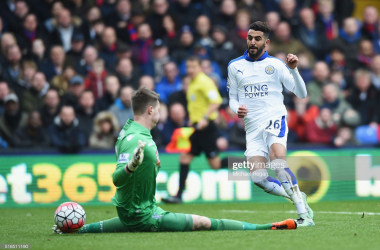 LONDON, ENGLAND - MARCH 19: Riyad Mahrez of Leicester City shoots at goal during the Barclays Premier League match between Crystal Palace and Leicester City at Selhurst Park on March 19, 2016 in London, United Kingdom. (Photo by Michael Regan/Getty Images)