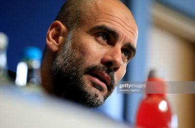MANCHESTER, UNITED KINGDOM - OCTOBER 31: Manchester City's manager Josep Guardiola speaks to media during a press conference at their Manchester City Academy in Manchester ahead of their Champions League Group stage soccer match against Barcelona, in Manchester, United Kingdom on October 31, 2016. (Photo by Lindsey Parnaby/Anadolu Agency/Getty Images)