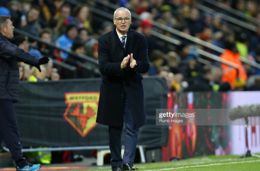 Claudio Ranieri encourages his former side Leicester City against current team Watford, in the 2015-16 Premier League season. Getty Images/Plumb Images.