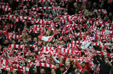 Southampton Fans during the EFL Cup Final Match between Manchester United and Southampton on February 26 at the Wembley Stadium, London (Photo by Kieran Galvin/NurPhoto via Getty Images)