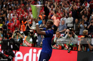 <div>Ajax v Manchester United - UEFA Europa League Final</div><div>STOCKHOLM, SWEDEN - MAY 24: Paul Pogba of Manchester United with the trophy during the UEFA Europa League Final between Ajax and Manchester United at Friends Arena on May 24, 2017 in Stockholm, Sweden. (Photo by Nils Petter Nilsson/Getty Images)</div>
