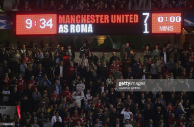 <div>MANCHESTER, UNITED KINGDOM - APRIL 10: General view of the scoreboard during the UEFA Champions League Quarter Final, second leg match between Manchester United and AS Roma at Old Trafford on April 10, 2007 in Manchester, England. (Photo by Laurence Griffiths/Getty Images)</div><div><br></div>