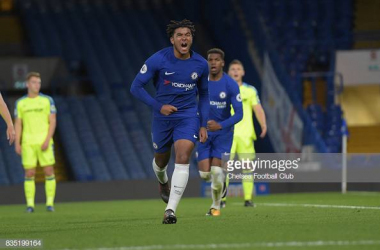 Reece James in action against Derby in Premier League 2 (photo credit: Chelsea FC/Getty images)