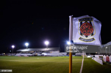 CHORLEY, ENGLAND - NOVEMBER 06: A Chorley corner flag before The Emirates FA Cup First Round match between Chorley and Fleetwood Town at Victory Park on November 6, 2017 in Chorley, England. (Photo by Nathan Stirk/Getty Images)