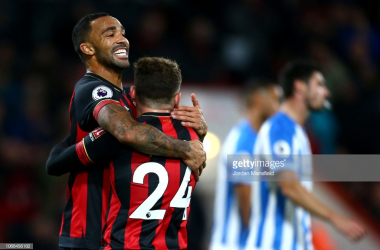 The two goalscorer's celebrate the cherries second of the evening. (gettyimages)