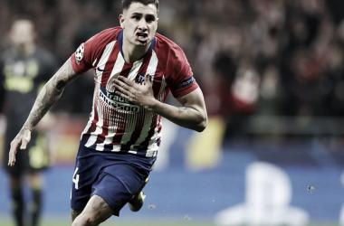 Giménez completó un partido soberbio con el premio del gol. Foto: Web oficial Club Atlético de Madrid