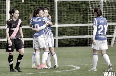 Las jugadoras realistas celebran uno de los goles marcados contra el Rayo. Foto: Giovanni Batista