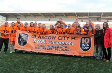 Glasgow City celebrates their historic success. Photo: Tommy Hughes