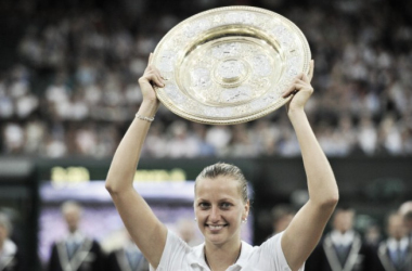 Petra Kvitova, pictured after her 2014 Wimbledon win, is one of those who has had their files leaked (AFP/Glyn Kirk)