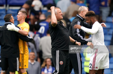 Chris Wilder celebrates at full time following the 2-2 draw at Stamford Bridge(Photo by John Walton/PA Images via Getty Images)