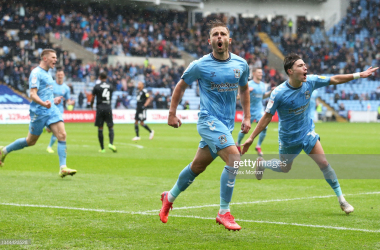 Matthew Godden of Coventry City celebrates after scoring Coventry's second goal from the penalty spot during the Sky Bet Championship match between Coventry City and Fulham at The Coventry Building Society Arena on October 02, 2021 in Coventry, England. (Photo by Alex Morton/Getty Images)