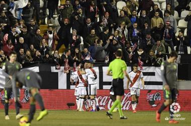 El Rayo celebrando el segundo gol frente a la Real Sociedad. Fotografía: La Liga