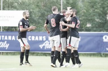 Los jugadores del Athletic celebran uno de los goles ante el Sion | Fotografía: Athletic Club
