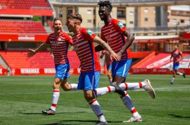 Aranda celebra su gol al Recreativo de Huelva | Foto: Granada CF