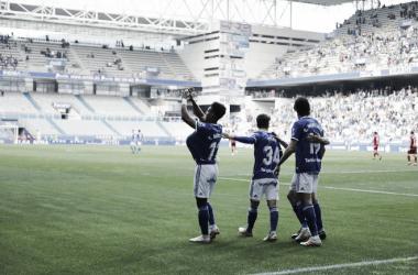 Yoel Bárcenas dedica su gol con el Fondo Norte vacío.
