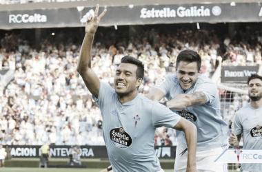 Cabral celebrando un gol en Balaídos. | Fuente: RCCelta