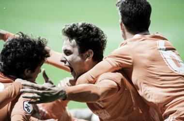 Borja Sánchez celebra el gol que cosechó desde el centro del campo de Zubieta. | Imagen: Real Oviedo