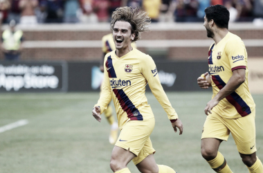Antoine Griezmann celebrando su primer gol con el Barça. FOTO: FC Barcelona