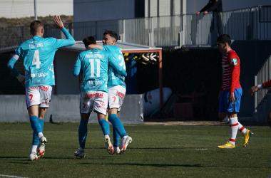 Celebración del gol de Toril al Recreativo Granada | Foto: Real Murcia