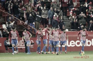 El Sporting celebra el gol de Rubén García. // Imagen: LFP.