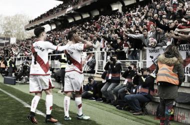 Celebración del gol de Trejo contra el Zaragoza en Vallecas. Fotografía: La Liga