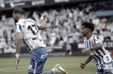 Peybernes celebrando su gol junto con un estelar Kevin. / Foto: LaLiga.