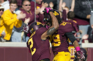 Cedric Thompson (#2) had two interceptions to help Minnesota rally for the victory (Jesse Johnson/USA TODAY Sports)