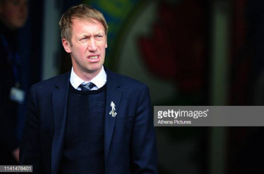 Graham Potter in the dugout last season. Image courtesy of Athena Pictures on Getty Images.