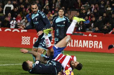Fede Vico tras una disputa durante el partido frente al Albacete. Foto: Jesus Hita/PS