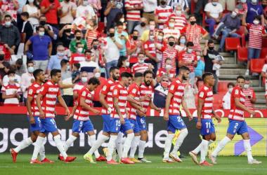 Los jugadores del Granada CF en el último partido en casa contra la Real Sociedad | Foto: Pepe Villoslada / Granada CF