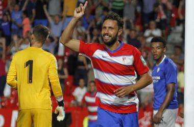 Germán celebra el primer gol contra el Sevilla. Foto: Antonio L. Juárez