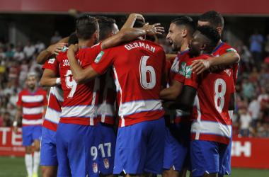 Celebración del gol de Germán | Foto: Antonio L. Juárez