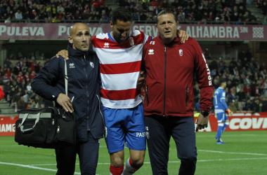 Montoro se lesionó en el partido contra Las Palmas. Foto: Antonio L. Juárez